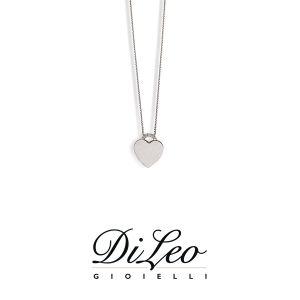 DI LEO Girocollo Cuore maglia con diamanti ct compl. 0,01 oro bianco 18 KT Daydream35/04