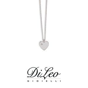 DI LEO Girocollo Cuore con diamanti ct compl. 0,02 oro bianco 18 KT Daydream35/05