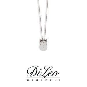 DI LEO Girocollo Gufo con diamanti ct compl. 0,01 oro bianco 18 KT Daydream36/01