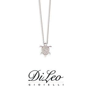 DI LEO Girocollo Tartaruga Pavè con diamanti ct compl. 0,11 oro bianco 18 KT Daydream37/04