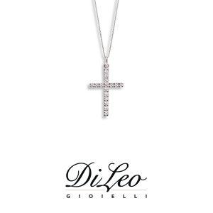 DI LEO Girocollo Croce con diamanti ct compl. 0,08 oro bianco 18 KT Daydream38/02