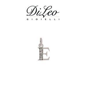 DI LEO Girocollo lettera E con diamanti ct compl. 0,02 oro bianco 18 KT Daydream39/05
