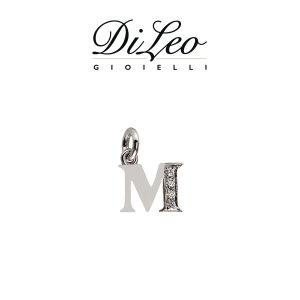 DI LEO Girocollo lettera M con diamanti ct compl. 0,02 oro bianco 18 KT Daydream39/12