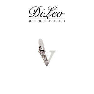 DI LEO Girocollo lettera V con diamanti ct compl. 0,02 oro bianco 18 KT Daydream39/20