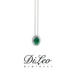 DI LEO Girocollo con diamanti ct compl. 0,07 oro bianco 18 KT e smeraldo Daydream40/03