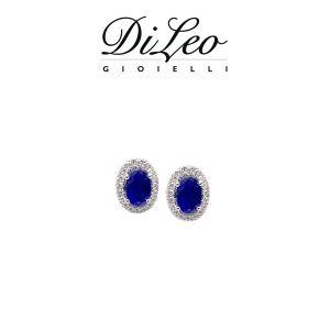 DI LEO Orecchini con diamanti ct compl. 0,14 oro bianco 18 KT e zaffiro Daydream41/01