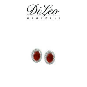 DI LEO Orecchini con diamanti ct compl. 0,14 oro bianco 18 KT e rubino Daydream41/02