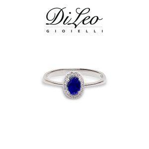 DI LEO Anello con diamanti ct compl. 0,07 oro bianco 18 KT e zaffiro Daydream42/01