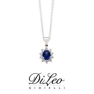 DI LEO Girocollo margherita con diamanti ct compl. 0,15 oro bianco 18 KT e zaffiro Daydream43/01