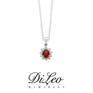 DI LEO Girocollo margherita con diamanti ct compl. 0,15 oro bianco 18 KT e rubino Daydream43/02