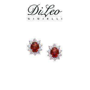 DI LEO Orecchini margherita con diamanti ct compl. 0,30 oro bianco 18 KT e rubino Daydream44/02
