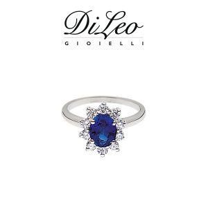 DI LEO Anello margherita con diamanti ct compl. 0,15 oro bianco 18 KT e zaffiro Daydream45/01