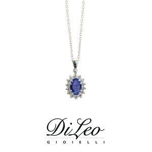 DI LEO Girocollo margherita con diamanti ct compl. 0,18 oro bianco 18 KT e zaffiro Daydream46/01
