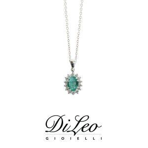 DI LEO Girocollo margherita con diamanti ct compl. 0,18 oro bianco 18 KT e smeraldo Daydream46/03