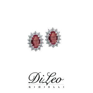 DI LEO Orecchini margherita con diamanti ct compl. 0,36 oro bianco 18 KT e rubino Daydream47/02
