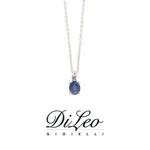 DI LEO Girocollo con diamanti ct compl. 0,02 oro bianco 18 KT e zaffiro Daydream52/01