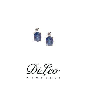 DI LEO Orecchini con diamanti ct compl. 0,04 oro bianco 18 KT e zaffiro Daydream53/01