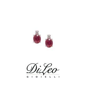 DI LEO Orecchini con diamanti ct compl. 0,04 oro bianco 18 KT e rubino Daydream53/02