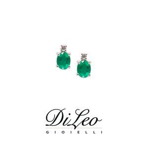 DI LEO Orecchini con diamanti ct compl. 0,04 oro bianco 18 KT e smeraldo Daydream53/03