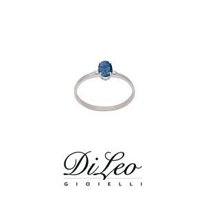 DI LEO Anello con diamanti ct compl. 0,02 oro bianco 18 KT e zaffiro Daydream54/01
