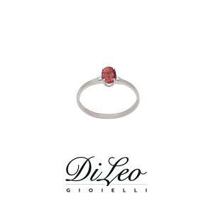 DI LEO Anello con diamanti ct compl. 0,02 oro bianco 18 KT e rubino Daydream54/02