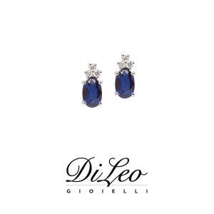 DI LEO Orecchini con diamanti ct compl. 0,08 oro bianco 18 KT e zaffiro Daydream56/01
