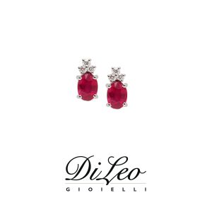 DI LEO Orecchini con diamanti ct compl. 0,08 oro bianco 18 KT e rubino Daydream56/02