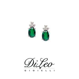 DI LEO Orecchini con diamanti ct compl. 0,08 oro bianco 18 KT e smeraldo Daydream56/03