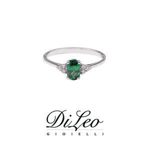 DI LEO Anello con diamanti ct compl. 0,06 oro bianco 18 KT e Smeraldo Daydream57/03