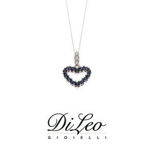 DI LEO Girocollo con diamanti ct compl. 0,03 oro bianco 18 KT e zaffiro Daydream61/01