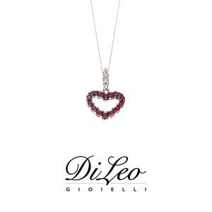 DI LEO Girocollo con diamanti ct compl. 0,03 oro bianco 18 KT e rubino Daydream61/02