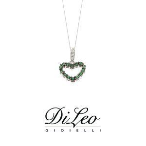 DI LEO Girocollo con diamanti ct compl. 0,03 oro bianco 18 KT e tsavorite Daydream61/03