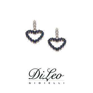DI LEO Orecchini con diamanti ct compl. 0,10 oro bianco 18 KT e zaffiro Daydream62/01