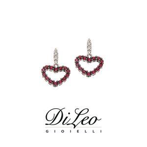DI LEO Orecchini con diamanti ct compl. 0,10 oro bianco 18 KT e rubino Daydream62/02