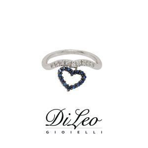 DI LEO Anello con diamanti ct compl. 0,07 oro bianco 18 KT e zaffiro Daydream63/01