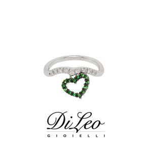 DI LEO Anello con diamanti ct compl. 0,07 oro bianco 18 KT e tsavorite Daydream63/03