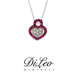 DI LEO Girocollo cuore con diamanti ct compl. 0,07 oro bianco 18 KT e rubino Daydream64/02