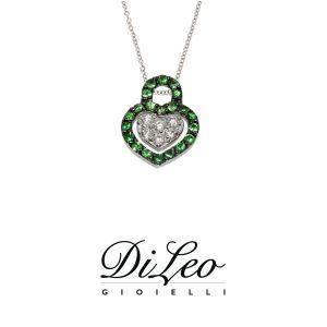 DI LEO Girocollo cuore con diamanti ct compl. 0,07 oro bianco 18 KT e tsavorite Daydream64/03