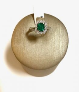 PALMA GIOIELLI Anello Smeraldo Naturale e Diamanti L526