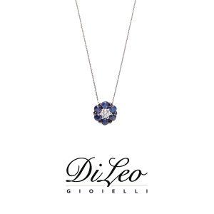 DI LEO Girocollo con diamanti ct compl. 0,03 oro bianco 18 KT e zaffiro Daydream58/01