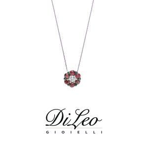 DI LEO Girocollo con diamanti ct compl. 0,03 oro bianco 18 KT e rubino Daydream58/02