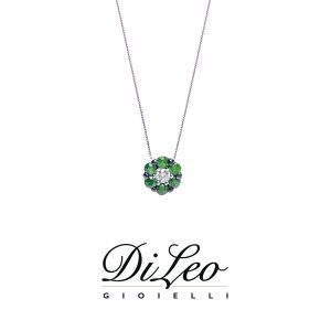 DI LEO Girocollo con diamanti ct compl. 0,03 oro bianco 18 KT e tsavorite Daydream58/03