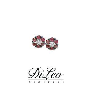 DI LEO Orecchini con diamanti ct compl. 0,06 e rubino oro bianco 18 KT Daydream59/02