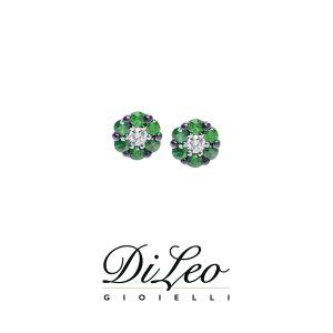 DI LEO Orecchini con diamanti ct compl. 0,06 e tsavorite oro bianco 18 KT Daydream59/03