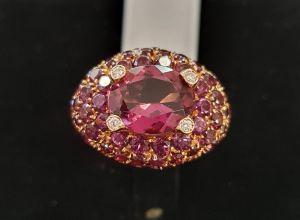 PALMA GIOIELLI Anello con Rodoliti e diamanti K1